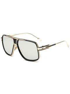 Metal Full Frame Crossbar Sunglasses - Silver