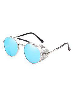 Stylish Crossbar Metal Frame Round Sunglasses - Light Sky Blue