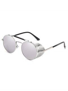 Stylish Crossbar Metal Frame Round Sunglasses - Silver
