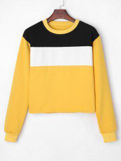 Contrast Fleece Sweatshirt - Yellow S