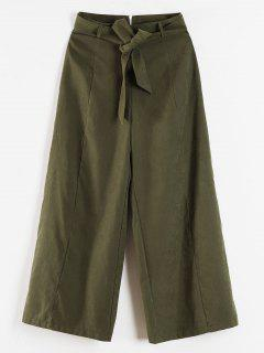 Palazzo Wide Leg High Waisted Pants - Army Green L