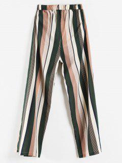 Pantalon De Jogging Jambe Large à Rayure Verticale à Taille Haute - Multi L