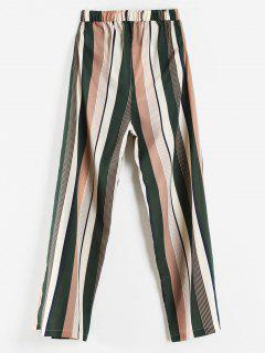 High Waisted Vertical Striped Wide Leg Pants - Multi M