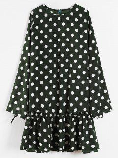 Rüschensaum Polka Dot Minikleid - Dunkles Waldgrün L