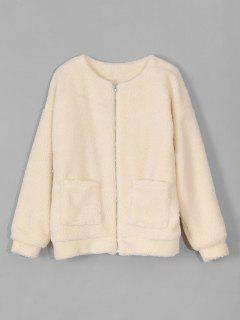 Zip Up Fluffy Faux Fur Coat - Blonde