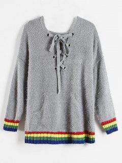 Hooded Lace Up Gestreifter Pullover - Grau