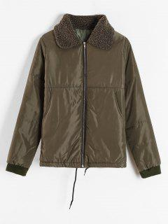 Borg Collar Puffer Jacket - Army Green 2xl