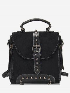 Mini Buckle Rivet School Backpack - Black