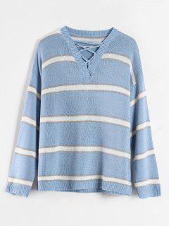 Gestreifter Criss Cross Pullover - Himmelblau