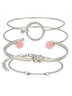 Round Knot Arrow Designed Cuff Bracelets Set - Silver