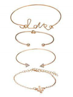 Triangle Shape Love Letters Design Chain Cuff Bracelets Set - Gold