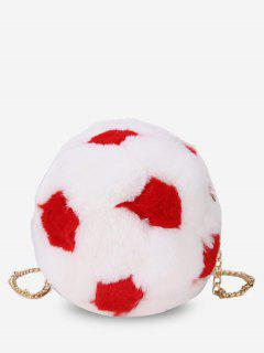 Polka Dot Print Chain Crossbody Bag - Lava Red