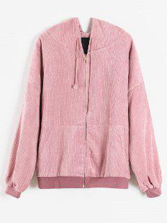 Quilted Front Pocket Corduroy Jacket - Pink M
