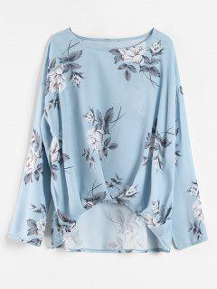 Long Sleeve Floral Print Draped Top - Light Blue S