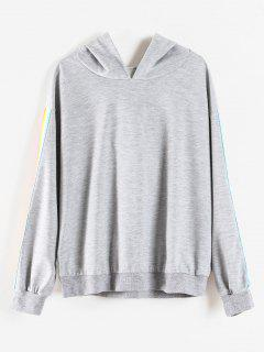 Rainbow Stripe Plus Size Hoodie - Light Gray 1x