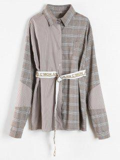 Patchwork Shirt With Graphic Belt - Multi