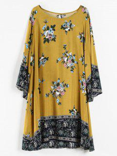 Plus Size Floral Print Tunic Dress - Orange Gold L