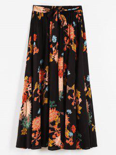 Plus Size Flowy Floral Maxi Skirt - Black L