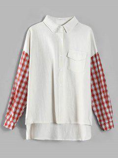 Chemise Longue Haute Basse à Carreaux Inséré - Blanc