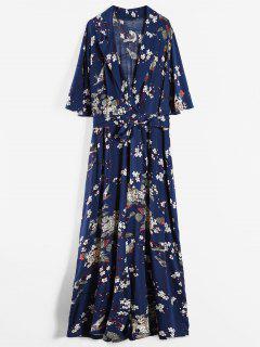 Floral Belted Wide Leg Plus Size Jumpsuit - Cadetblue 3x