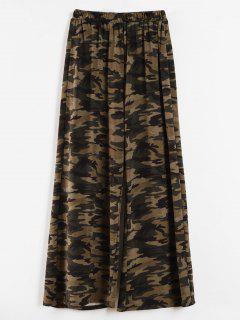 Camo Print Plus Size Wide Leg Pants - Acu Camouflage L