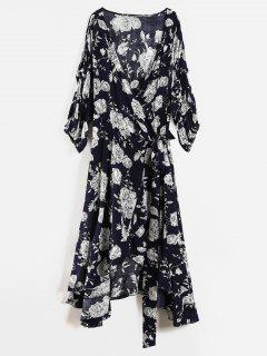 Floral Ruffle Plus Size Wrap Dress - Deep Blue 1x