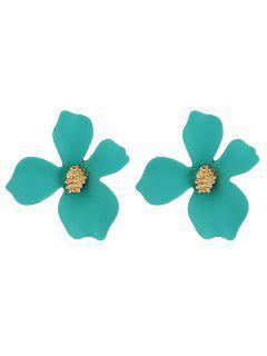 Floral Shape Design Stud Earrings - Greenish Blue