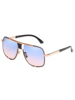 Anti Fatigue Metal Square Frame Sunglasses - Sea Blue