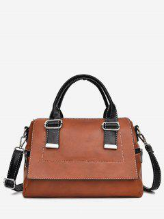 Color Block Going Out Handbag - Brown