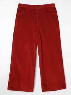 Pocket Corduroy Wide Leg Pants - Red Wine L