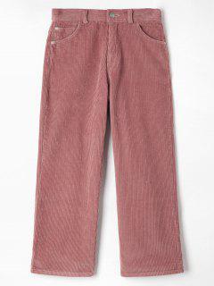 Corduroy Pocket Straight Pants - Pink L