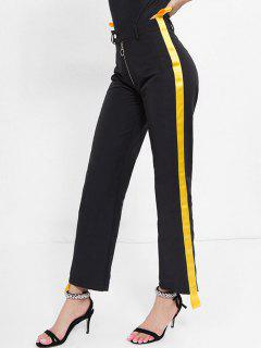 Striped Patched Half Zip Pants - Black M