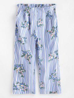 Pantalon Plissé Rayé Floral Imprimé à Jambe Large - Multi L