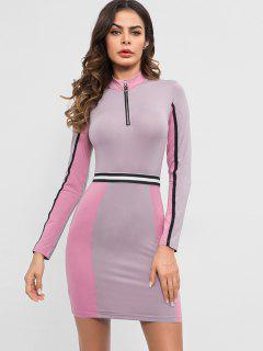 Half Zip Contrast Fitted Dress - Wisteria Purple M