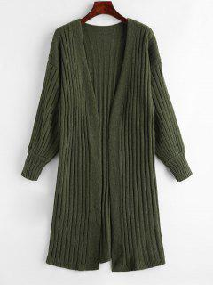 Ribbed Open Front Long Cardigan - Army Green