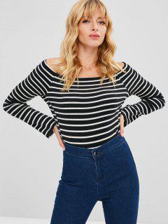 Off Shoulder Striped T-shirt - Black L