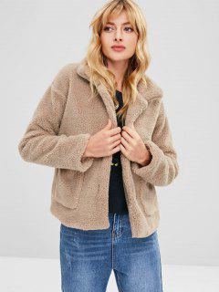 Fluffy Coat With Pocket - Camel Brown S