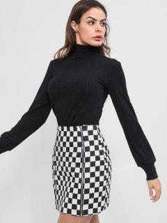 Zippers Mini Checkered Skirt - White L
