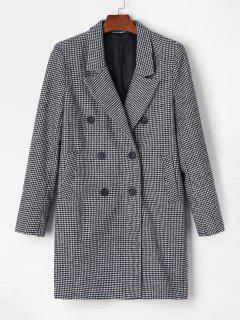 Double Breasted Houndstooth Blazer Coat - Black M