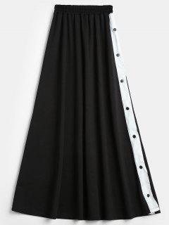 Slit Snap Button Maxi Skirt - Black M