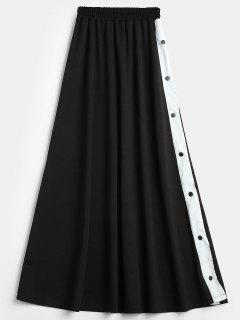 Slit Snap Button Maxi Skirt - Black S