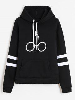 Graphic Pouch Pocket Fleece Hoodie - Black L