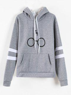 Graphic Pouch Pocket Fleece Hoodie - Gray S