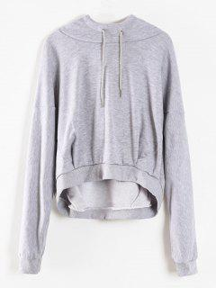 Cropped Oversized Terry Hoodie - Light Gray M