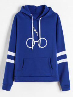 Graphic Pouch Pocket Fleece Hoodie - Blue L
