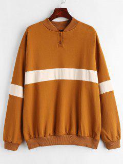 Striped Terry Oversized Pullover Sweatshirt - Tiger Orange