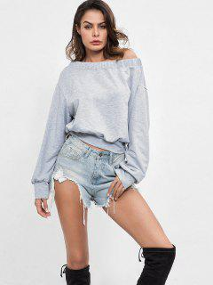 Skew Neck Plain Sweatshirt - Light Gray S