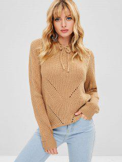 Hooded Hollow Out Sweater - Tan