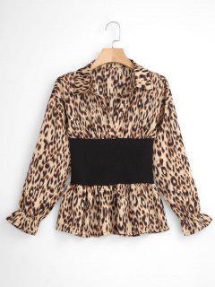 Leopard Print Corset Waist Top - Leopard
