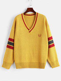 Embroidered Stripe Oversized Sweater - Mustard